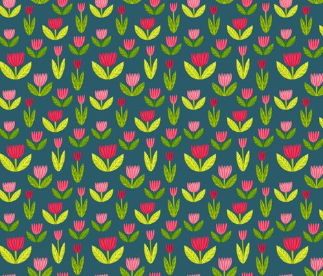 tulips on blue fabric by kristinnohe on Spoonflower - custom fabric