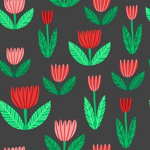 tulips on gray