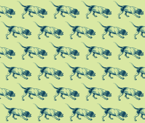 blue dog fabric by walkwithmagistudio on Spoonflower - custom fabric