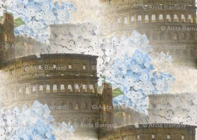 Rome Coliseum with Blue Hydrangeas