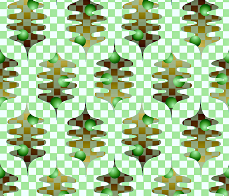 checker leaves green fabric by glimmericks on Spoonflower - custom fabric