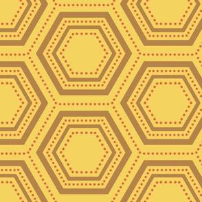 Dotted Hexagon - Orange