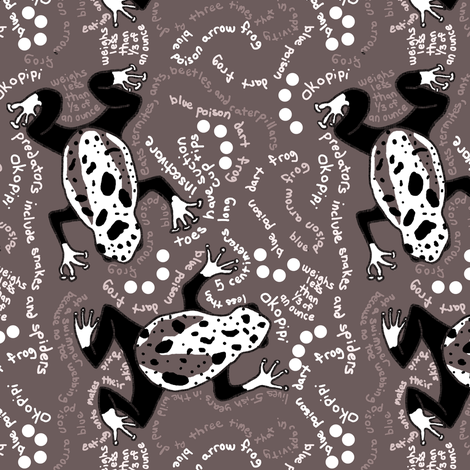 Blue Poison Dart Frog - Brown - Small fabric by telden on Spoonflower - custom fabric