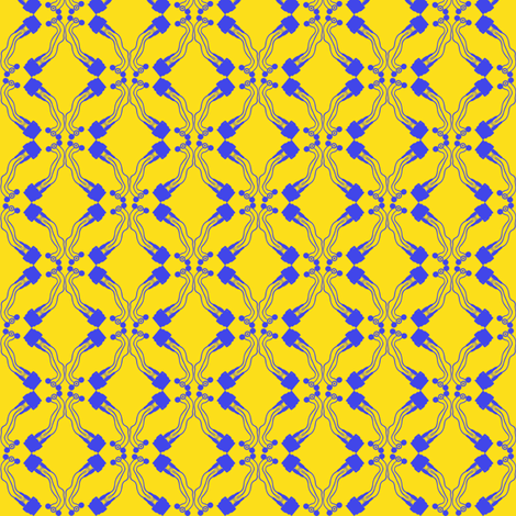 cable tile blue on yellow fabric by susiprint on Spoonflower - custom fabric