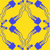 cable tile blue on yellow