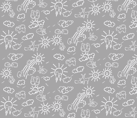 You Are My Sunshine Woodland Animals-in Grey and White fabric by kbexquisites on Spoonflower - custom fabric