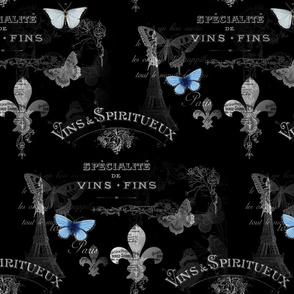 Paris_butterfly_vins_BW_collage_seamless