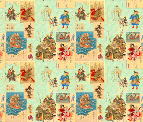 Japanese Warriors fabric by telden on Spoonflower - custom fabric