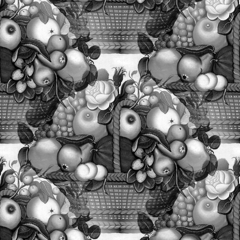 Fruit Basket Grayscale fabric by telden on Spoonflower - custom fabric