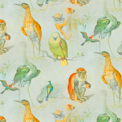 Monkey and Bird Medley fabric by telden on Spoonflower - custom fabric