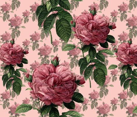 Redoute' Roses ~ Sweet Pink ~ Large fabric by peacoquettedesigns on Spoonflower - custom fabric