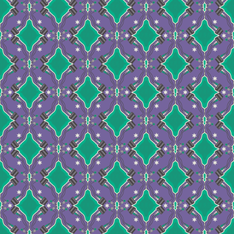 Oh yeah it`s Bitmap! green on purple fabric by susiprint on Spoonflower - custom fabric