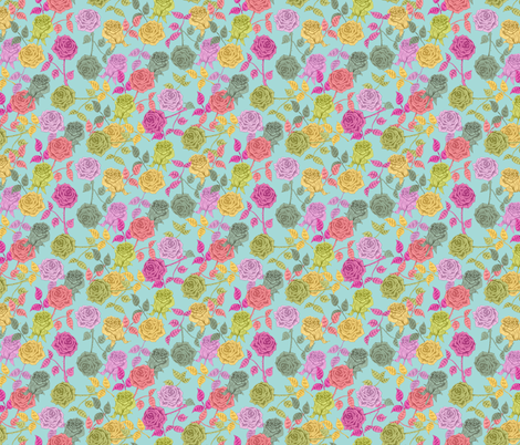 ROSES (blue) fabric by biancagreen on Spoonflower - custom fabric