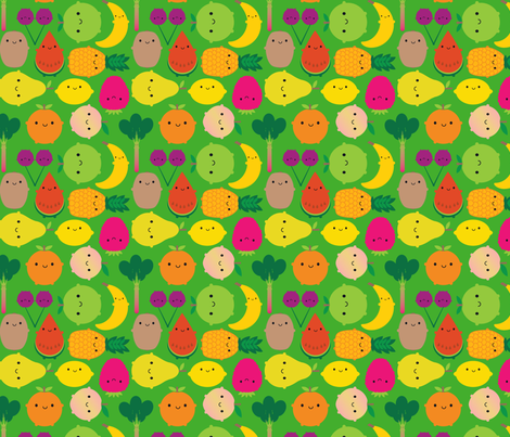 Fruit Bowl (green) fabric by marcelinesmith on Spoonflower - custom fabric