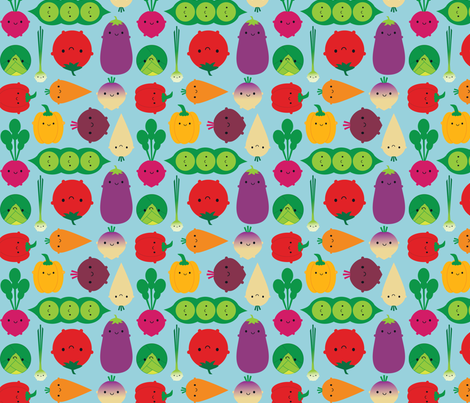 Vegetable Garden (blue) fabric by marcelinesmith on Spoonflower - custom fabric