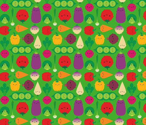Vegetable Garden (green) fabric by marcelinesmith on Spoonflower - custom fabric