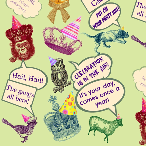Put on Your Party Hat! fabric by walkwithmagistudio on Spoonflower - custom fabric