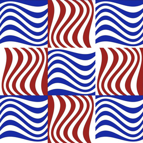 Wavy Bars Block Red White Blue 4