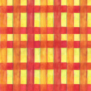 watercolor plaid in red and yellow