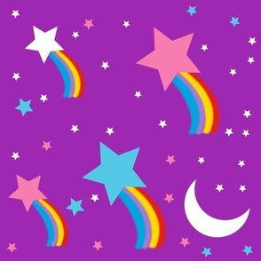 shooting stars moon rainbows galaxy