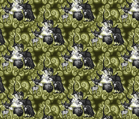 They Conjure - green fabric by thecalvarium on Spoonflower - custom fabric