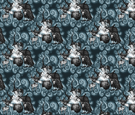 They Conjure - blue fabric by thecalvarium on Spoonflower - custom fabric