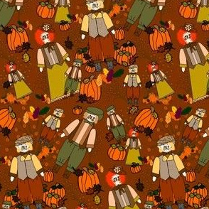 Punky and Pals Victorian Scarecrow With Fall Pumpkin, Leaves and Flowers Fabric