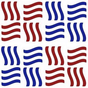 Wavy Bars Block Red White Blue 6