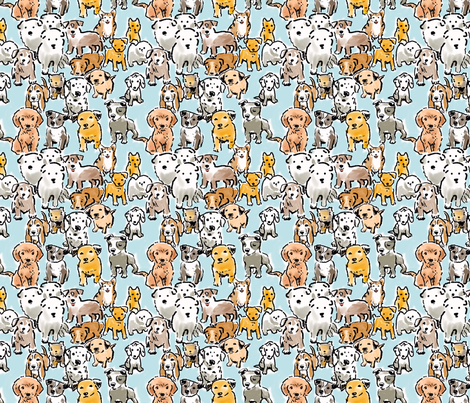 Puppies Browns and Blue fabric by vinpauld on Spoonflower - custom fabric