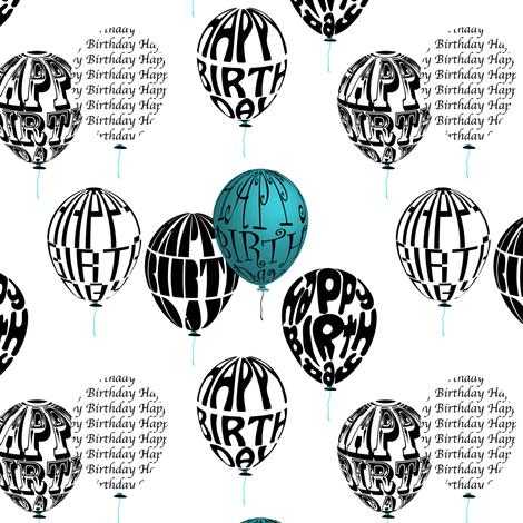 Happy Balloons Blue&White fabric by vannina on Spoonflower - custom fabric