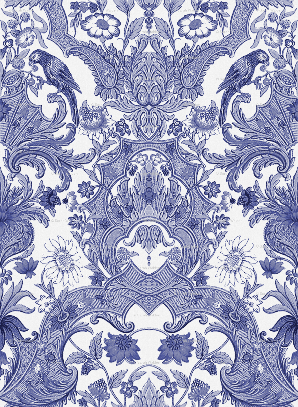 Parrot Damask Blue And White Centered Birds Giftwrap