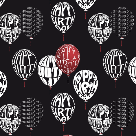 Happy Balloons Black&Red fabric by vannina on Spoonflower - custom fabric