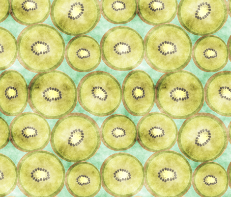 kiwi in watercolour fabric by kociara on Spoonflower - custom fabric