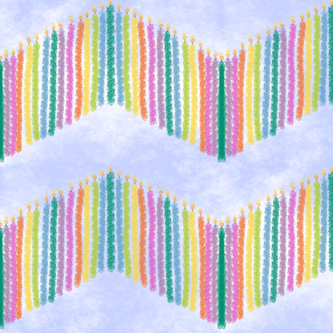 Rainbow Birthday Candle Chevron fabric by peacoquettedesigns on Spoonflower - custom fabric
