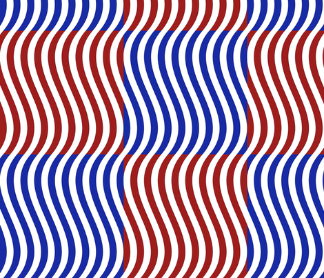 Wavy Bars Block Red White Blue 7 fabric by serendipitymuse on Spoonflower - custom fabric