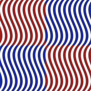 Wavy Bars Block Red White Blue 7