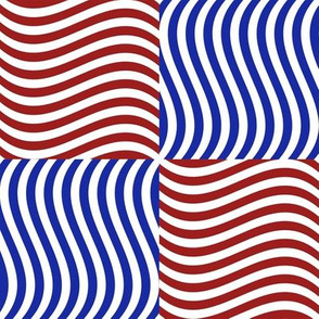 Wavy Bars Block Red White Blue 8