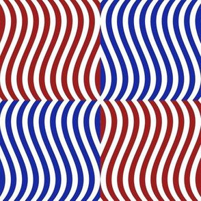 Wavy Bars Block Red White Blue 9