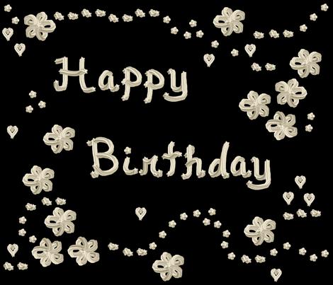 Whipped Cream  - Happy Birthday!  - © PinkSodaPop 4ComputerHeaven.com fabric by pinksodapop on Spoonflower - custom fabric