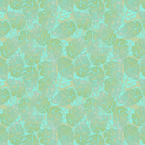 leaves apart turquoise fabric by glimmericks on Spoonflower - custom fabric