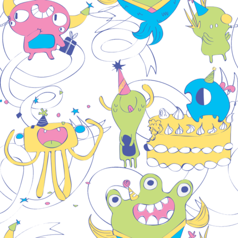 Monster celebration fabric by monsterhugs on Spoonflower - custom fabric