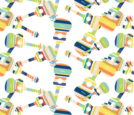 Stripey Ukes - 5 fabric by owlandchickadee on Spoonflower - custom fabric