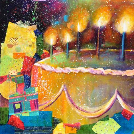 Happy_Birthday_Cake fabric by michiela on Spoonflower - custom fabric
