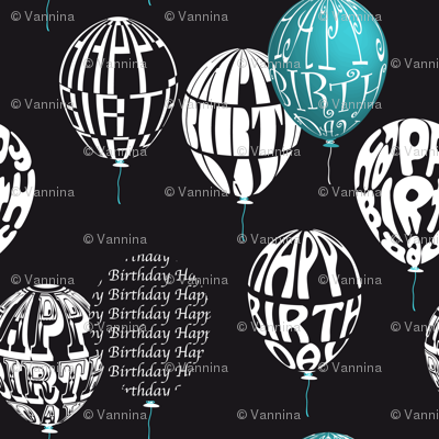 Happy Balloons Black&Blue