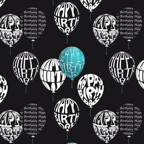 Happy Balloons Black&Blue fabric by vannina on Spoonflower - custom fabric