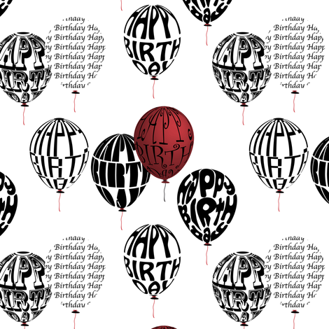 Happy Balloons Red&White fabric by vannina on Spoonflower - custom fabric