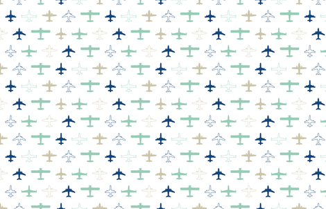 planes in white fabric by chantae on Spoonflower - custom fabric