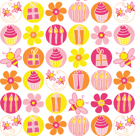 Hap-Bee Birthday fabric by ebygomm on Spoonflower - custom fabric