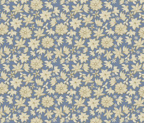 Spring flowers in blue fabric by anastasiia-ku on Spoonflower - custom fabric