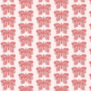 ButterflyFlutterby - med  - true red & fair pink